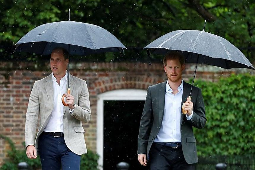 Britain's Prince William, Duke of Cambridge and Prince Harry at the White Garden in Kensington Palace in London.