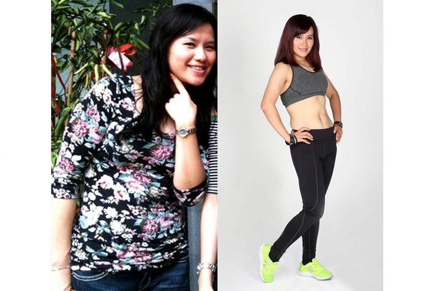 Crystal Wu, 35, before and after her weight loss.