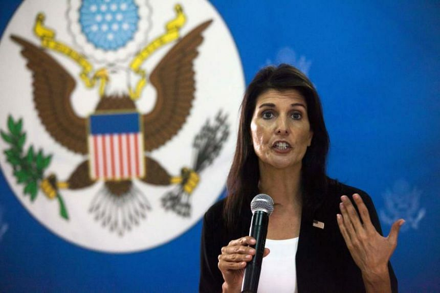 US Ambassador to the United Nations, Nikki Haley talks to staff members of the US embassy in Juba, South Sudan, on Oct 25, 2017.