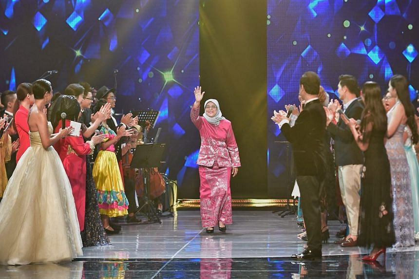 President Halimah Yacob arrives for the President's Star Charity show on Dec 10, 2017.