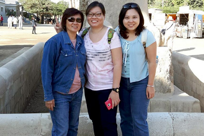 Ms Ashley Ee (at right) with her friend (centre) and the latter's aunt in Egypt last month. They travelled there even after a general travel advisory had been issued and ended up in the country when a terror attack happened. They returned to Singapor
