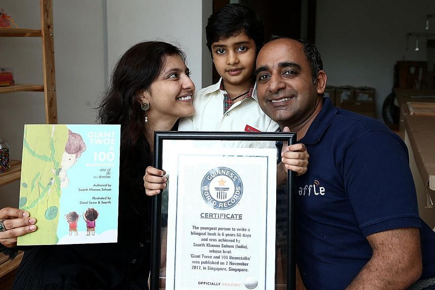 Saarth Khanna Sohum came up with the idea for his book when his dad, Mr Anuj Khanna Sohum, had to keep him and his sister amused while his mother, Mrs Gitanjali Sohum, was recovering from chicken pox. His book, with illustrations by local illustrator
