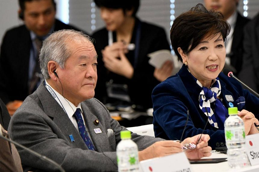 Olympics Minister Shunichi Suzuki (left) and Tokyo Governor Yuriko Koike at the 5th meeting of the International Olympic Committee (IOC) Coordination Commission for the Tokyo 2020 Olympic Games, in Japan, on Dec 11, 2017.