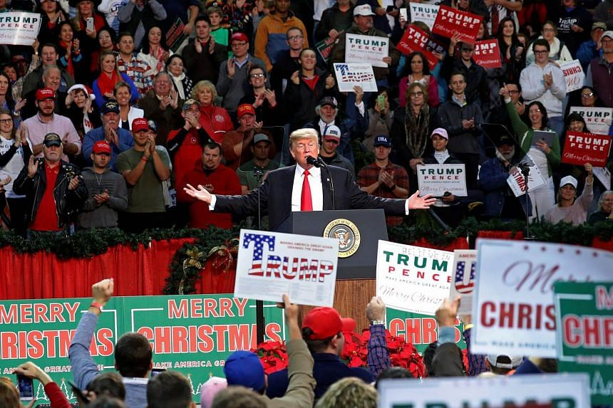 US President Donald Trump at a rally in Pensacola, Florida, on Dec 8, 2017.