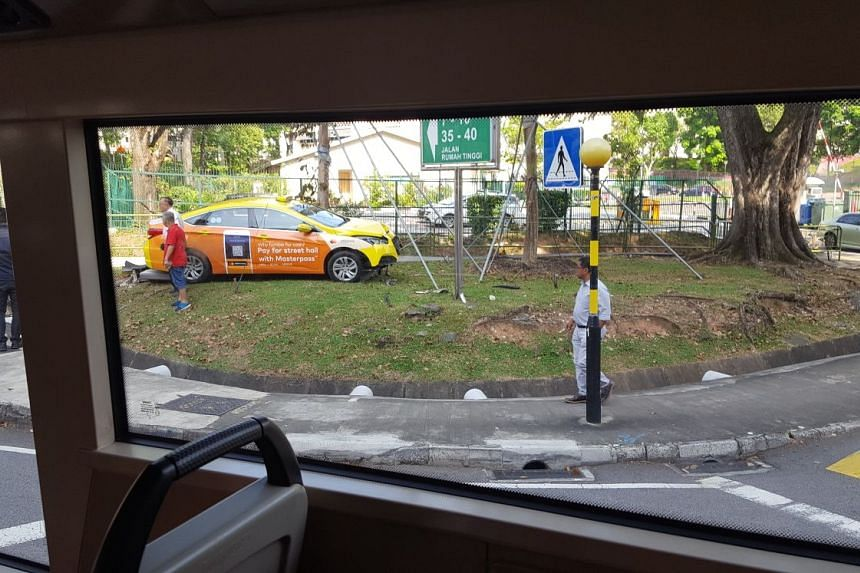 The cab crashed into the power box on Dec 11, 2017. Debris from the accident, along with oil spillage, caused traffic congestion for more than three hours.