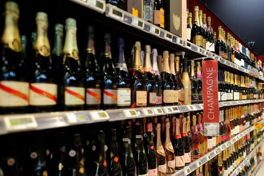 Bottles of Champagne in a supermarket in Vertou, near Nantes, France.