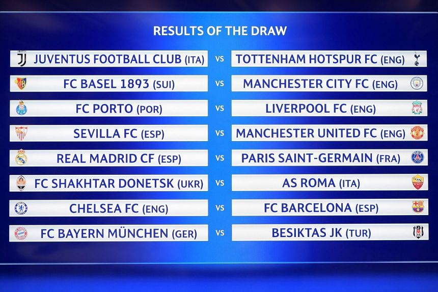 The results for the Uefa Champions League Round of 16 draw is seen on a screen at Uefa headquarters in Nyon, Switzerland, on Dec 11, 2017.