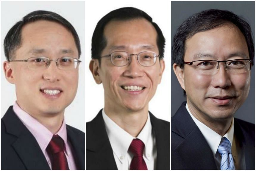 Mr Ngiam Shih Chun (left) will be taking over as EMA chief executive from Mr Ng Wai Choong (centre), who will be appointed the commissioner of inland revenue and CEO of Iras, replacing Mr Tan Tee How (right), who is retiring.