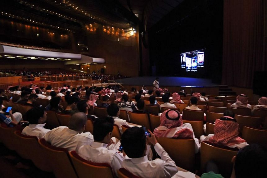 Saudis attending a film festival at King Fahad Culture Centre in Riyadh.