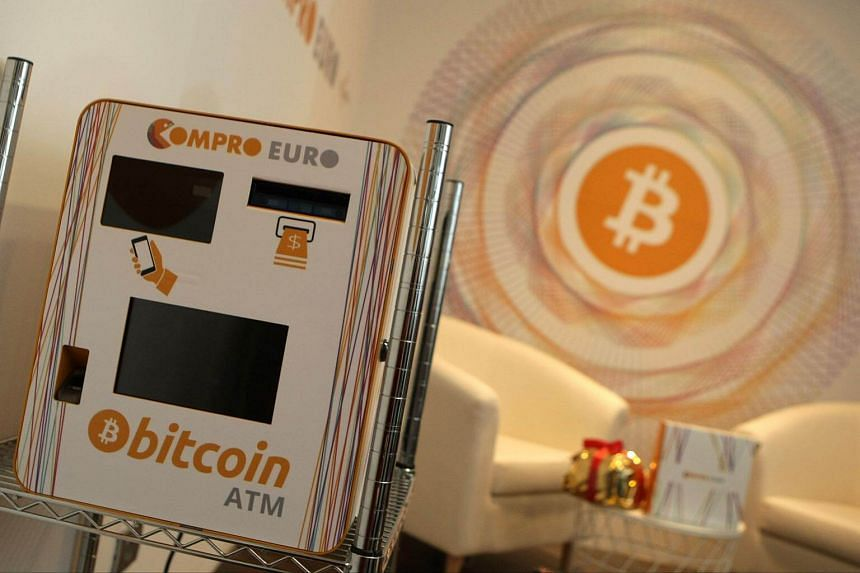 A Bitcoin ATM is seen in Italy's first Bitcoin shop in Rovereto.