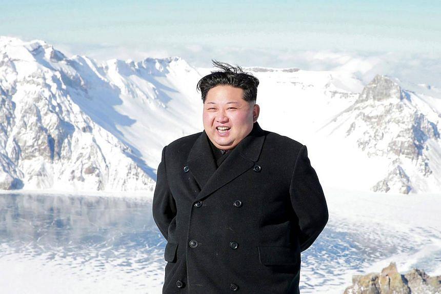 North Korean leader Kim Jong Un visiting Mount Baekdu in Ryanggang Province.