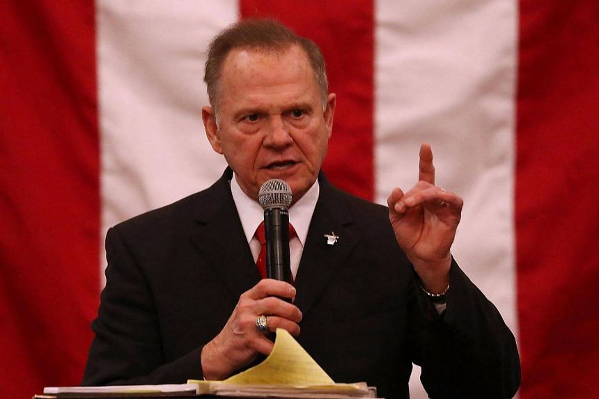 Republican candidate Roy Moore speaks during a campaign event on Dec 11, 2017.