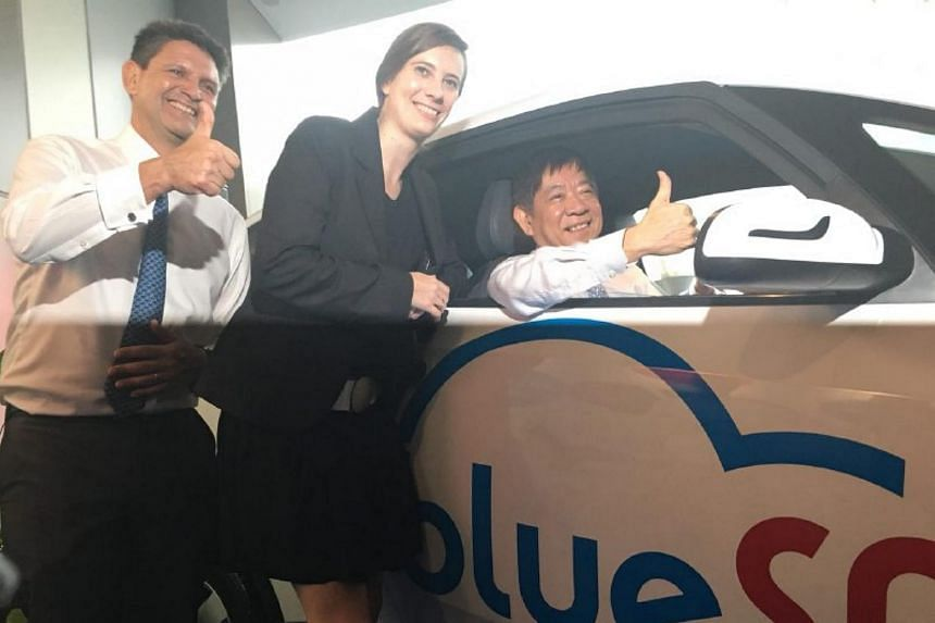 (From left) Managing director of BlueSG Franck Vitte, managing director of Blue Solutions Marie Bollore and Transport Minister Khaw Boon Wan at the launch of the electri-car sharing programme.
