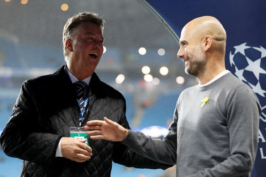 Former Manchester United manager Louis van Gaal and Manchester City manager Pep Guardiola inside the Etihad Stadium before the Champions League match against Feyenoord  on Nov 21, 2017.