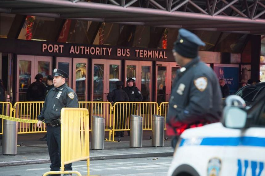 Police respond to a reported explosion at the Port Authority Bus Terminal on Dec 11, 2017 in New York.