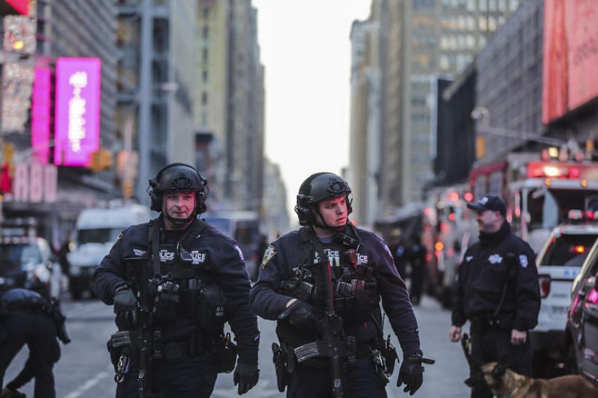 New York City police near the Port Authority Bus Terminal in Manhattan following an explosion on the morning of Dec 11, 2017.