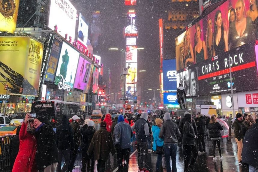 The family were at Times Square on Dec 9, 2017, queueing for Broadway tickets.