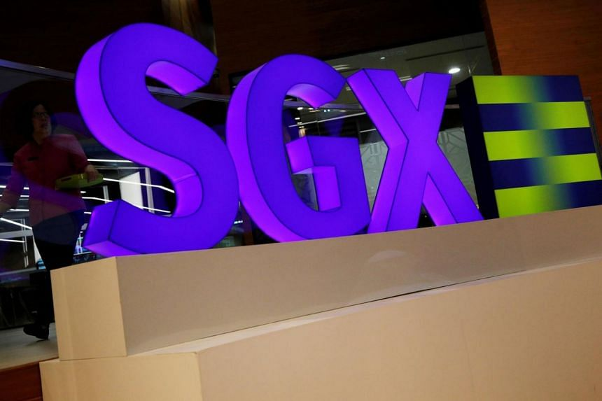 An SGX sign is pictured at Singapore's stock exchange.