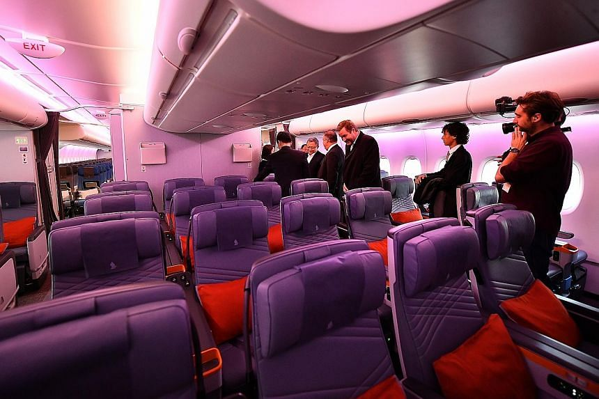 Premium economy seats in SIA's new A-380, at the Airbus Delivery Centre in Toulouse, France, yesterday. The reconfigured cabin in the superjumbo has 471 seats - six ultra-first class suites, 78 in business class, 44 in the premium economy cabin and 3
