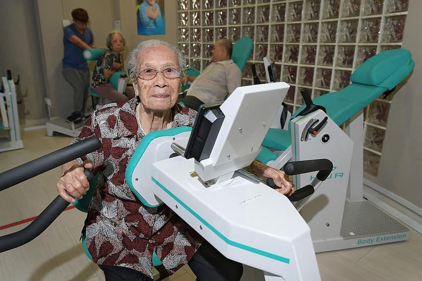 Madam Lau Soon Siang, 97, went through 12 weeks of strength training under the Gym Tonic programme earlier this year, which helped her regain her muscle strength and balance.