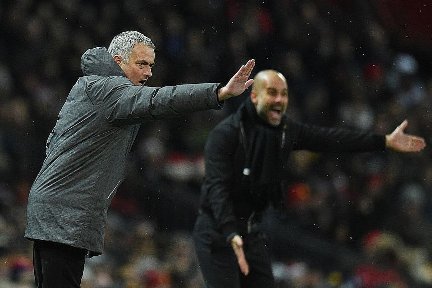 Red Devils manager Jose Mourinho and Manchester City's Pep Guardiola bellowing out instructions. Both clubs have been asked by the FA for a report on the bust-up.