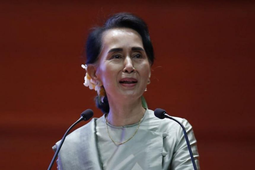 Aung San Suu Kyi speaks during the Myanmar Entrepreneurship Summit 2017 at the Myanmar International Convention Center (MICC-2) in Naypyitaw, Myanmar on Dec 9, 2017.