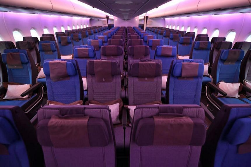 The new economy class seats in Singapore Airlines' Airbus A-380.