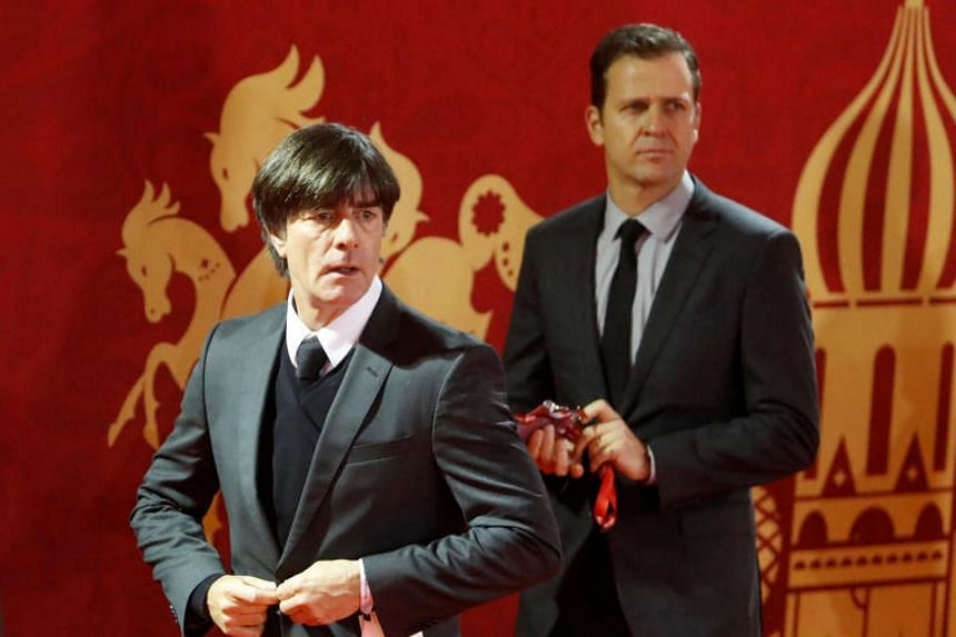 Germany coach Joachim Low and team manager Oliver Bierhoff arrive ahead of the draw on Dec 1, 2017.