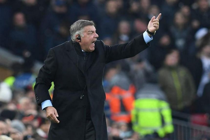 Everton's English manager Sam Allardyce shouts from the touchline during the English Premier League football match between Liverpool and Everton at Anfield in Liverpool, north west England on Dec 10, 2017.