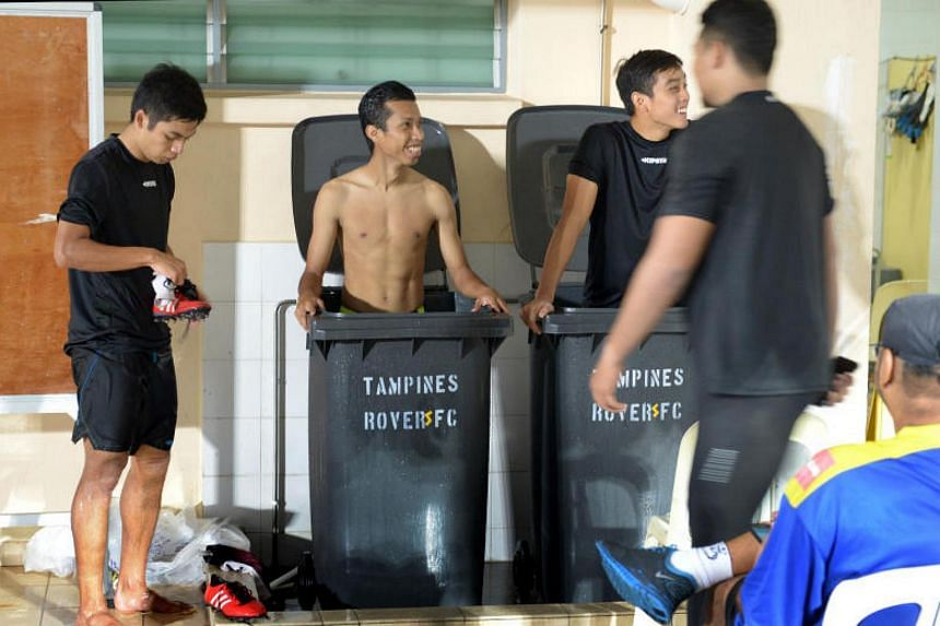 Then Tampines player Ismadi Mukhtar (centre) having an ice bath after training in April 2016. He left the club after the 2017 season but negotiations with other clubs stalled ahead of the league's revamp. He is upset with the age quota.