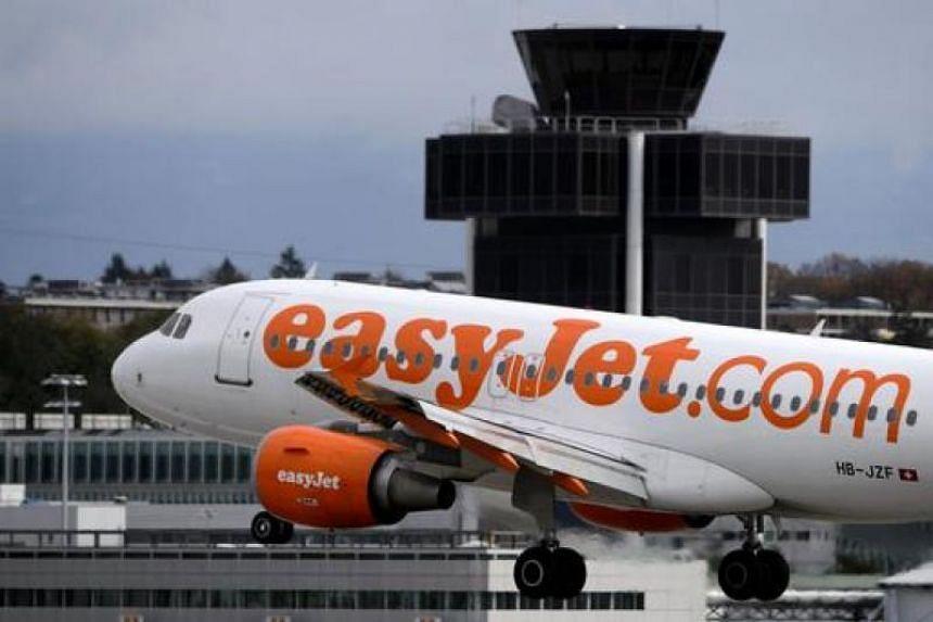 An EasyJet airplane landing at Geneva Airport on Nov 12, 2012.