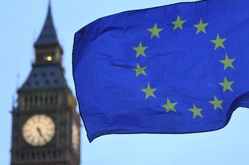 A European Union flag flying near the Elizabeth Tower, otherwise known as Big Ben, in London on Feb 20, 2017.