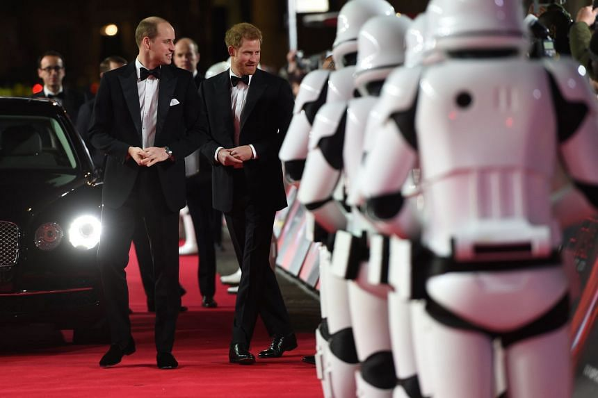 Prince William and Prince Harry attend the European Premiere of Star Wars: The Last Jedi, at the Royal Albert Hall, London, on Dec 12,