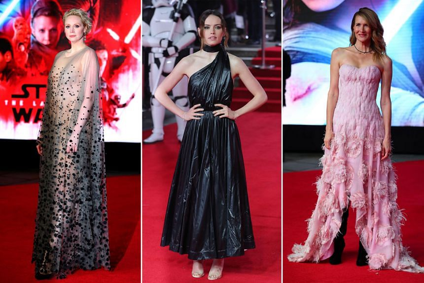 From left: Star Wars actresses Gwendoline Christie, Daisy Ridley and Laura Dern.