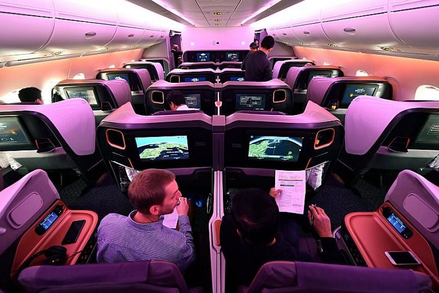 Passengers in Business Class aboard Singapore Airlines during the A-380 delivery flight from Toulouse to Singapore on SQ8898, on Dec 13, 2017.