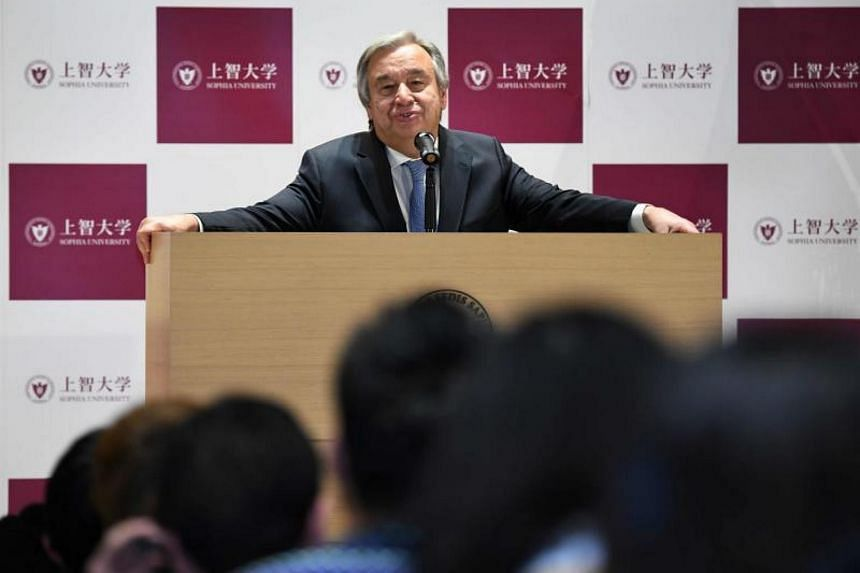 UN Secretary-General Antonio Guterres delivers a speech during his special lecture titled Global Challenges: The Role of Human Security at Sophia University in Tokyo on Dec 14, 2017.