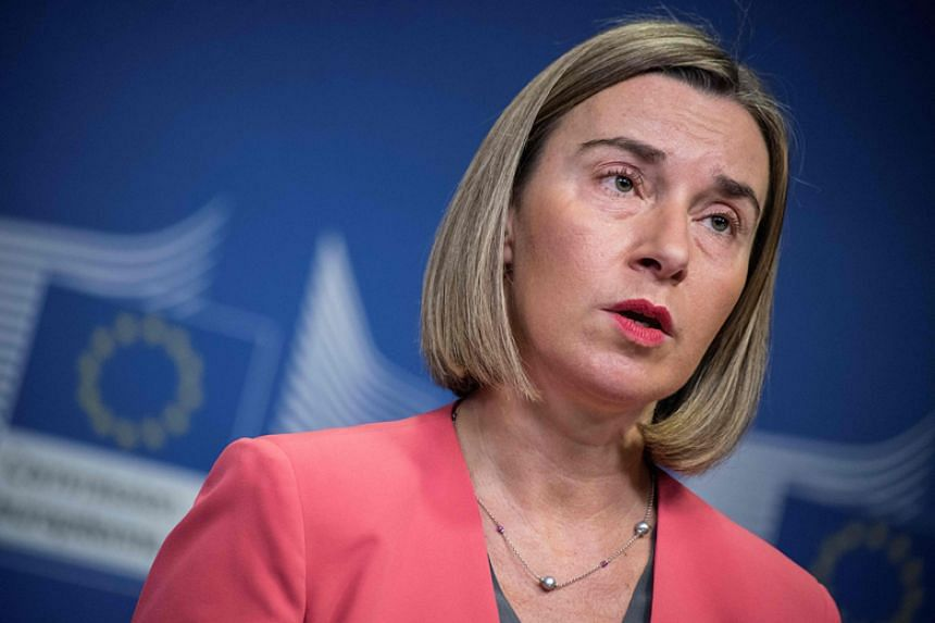 The European Union's foreign policy chief Federica Mogherini addresses a press conference after a bilateral meeting with Indonesian Foreign Minister Retno Marsudi at the European Union Commission in Brussels on Dec 14, 2017.