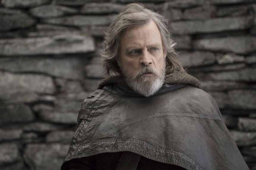Mark Hamill plays the crusty old master in The Last Jedi.