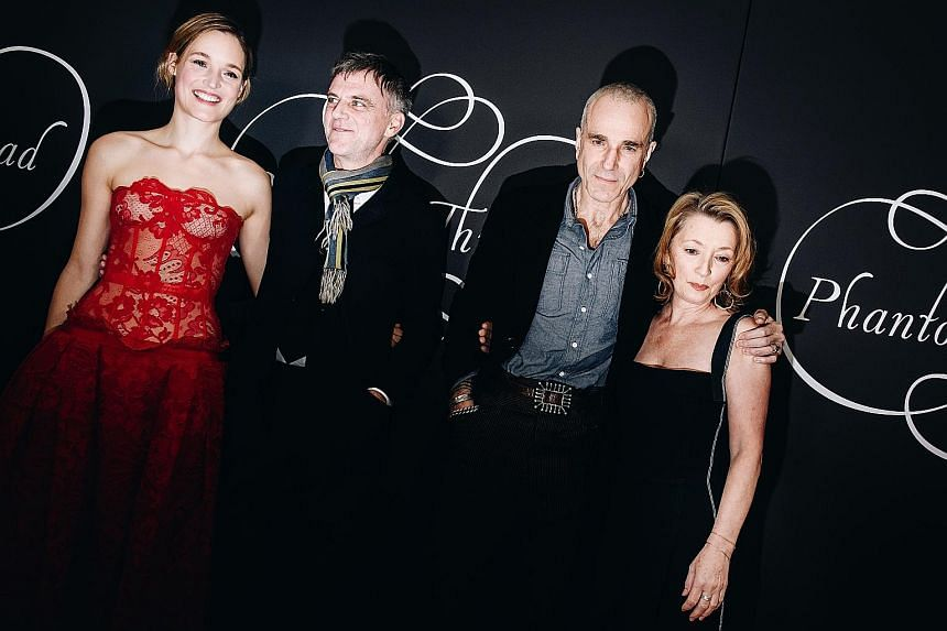 At the New York premiere of Phantom Thread are (from left) actress Vicky Krieps, director Paul Thomas Anderson and actors Daniel Day-Lewis and Lesley Manville.