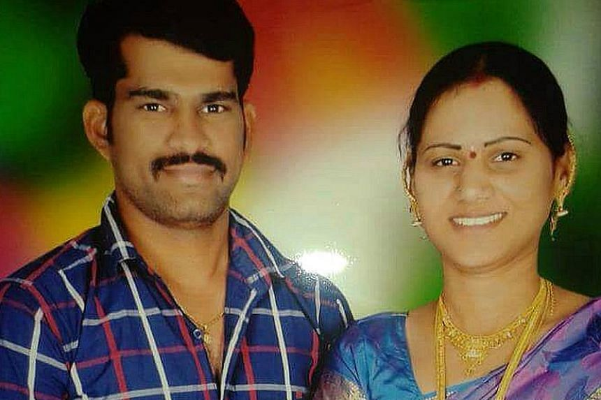 M. Swathi with her husband, Mr Sudhakar Reddy, whom she and her lover allegedly bludgeoned to death.