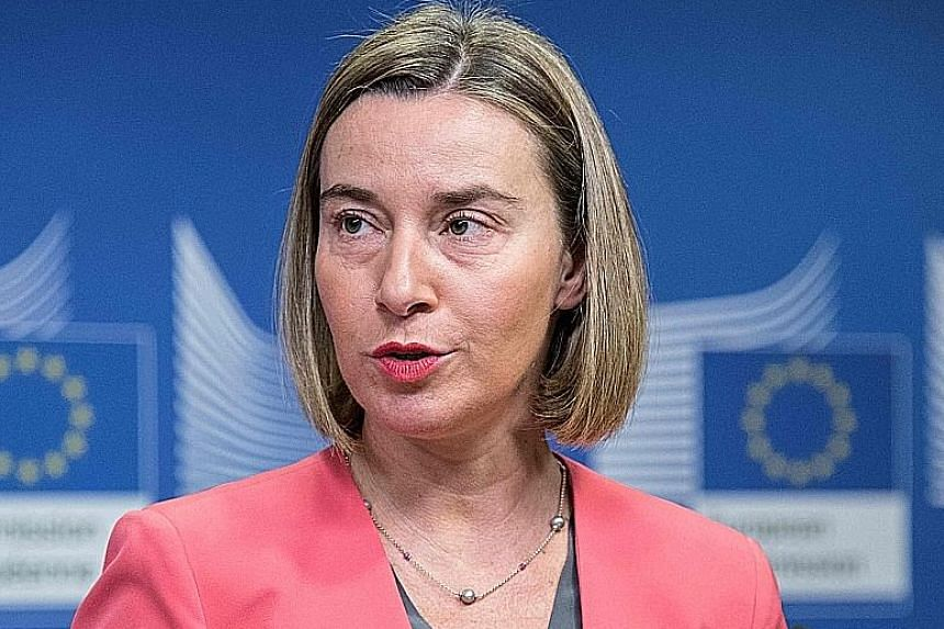 EU foreign policy chief Federica Mogherini (top) and Indonesian Foreign Minister Retno Marsudi (above) reiterated shared views on issues clouding Jerusalem and Myanmar.