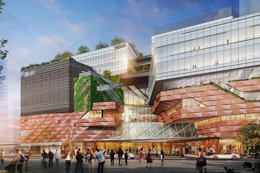 An artist's impression of the upcoming Funan integrated development, which will feature 500,000 sq ft of retail space, two Grade A office blocks, and The Ascott's lyf brand of co-living serviced homes, all linked via a direct underpass to City Hall M