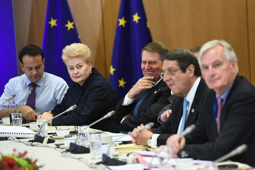 (From left) Ireland's Prime Minister Leo Varadkar, Lithuania's President Dalia Grybauskaite, Romania's President Klaus Werner Iohannis, Cyprus' President Nicos Anastasiades and EU's chief Brexit negotiator Michel Barnier gather before a meeting with