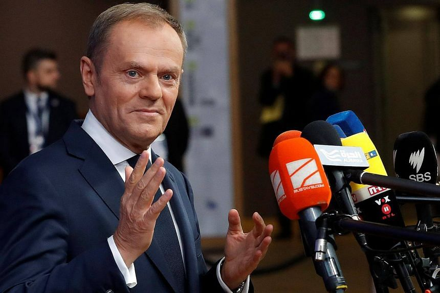 European Council President Donald Tusk at the EU summit in Brussels, on Dec 14.