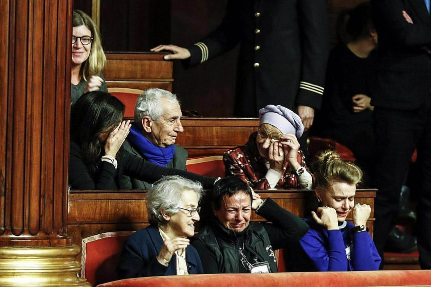 Former Minister of Foreign Affairs Emma Bonino reacts after the Italian Senate gave the final approval to a bill for living wills.