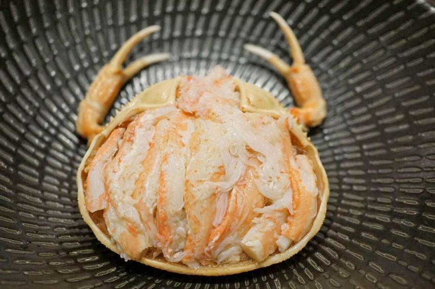 "Koubako crab, or ""box"" crab, which are female snow crabs indigenous to Ishikawa and prized for their fleshy meat and roe that are packed tightly into their shells."