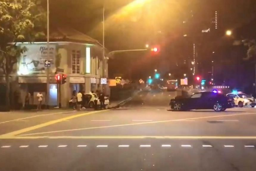 Footage of the aftermath posted online shows a white car that had crashed into a building at the junction, while the black car is shown a distance away, with its hood damaged.