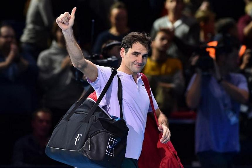 Switzerland's Roger Federer at the men's singles semi-final match on day seven of the ATP World Tour Finals tennis tournament at the O2 Arena in London on Nov 18, 2017.