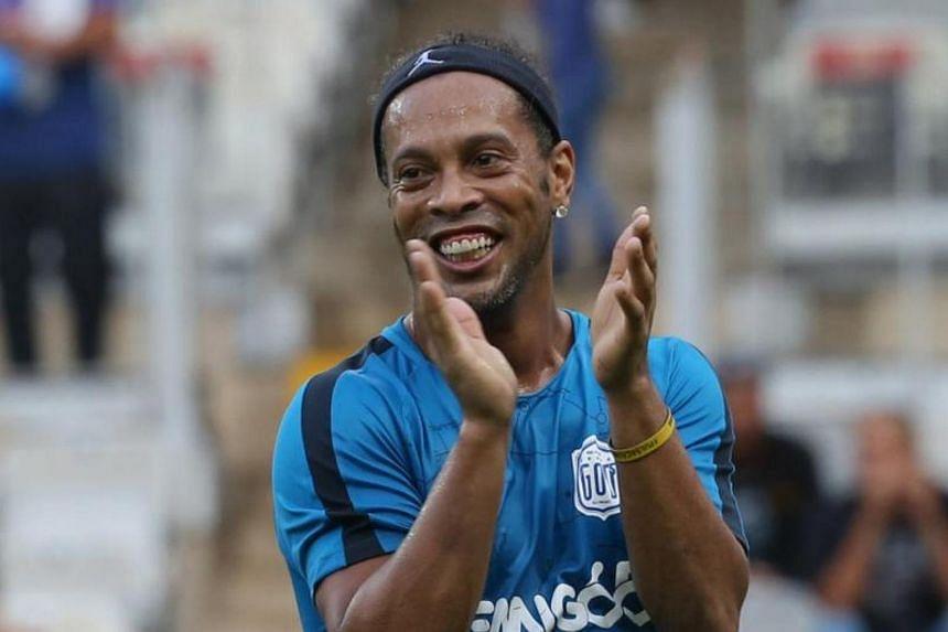 Ronaldinho participates in a charity event at the Mineirao stadium in Belo Horizonte, Brazil.