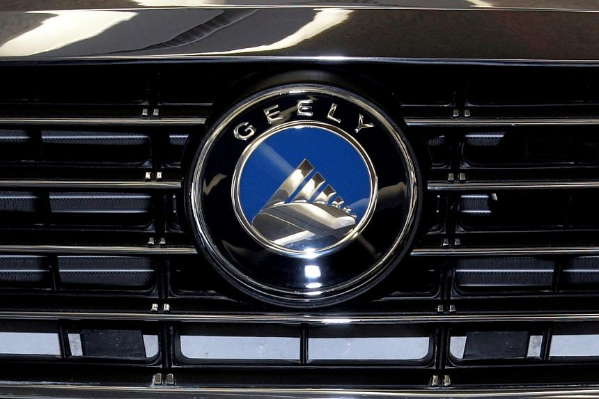 The Geely logo is shown at the Chinese automaker's display during the media preview at the 2008 North American International Auto Show in Detroit.